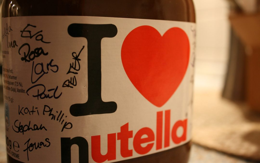 Nutella Bottle Closeup with Writing on the Label