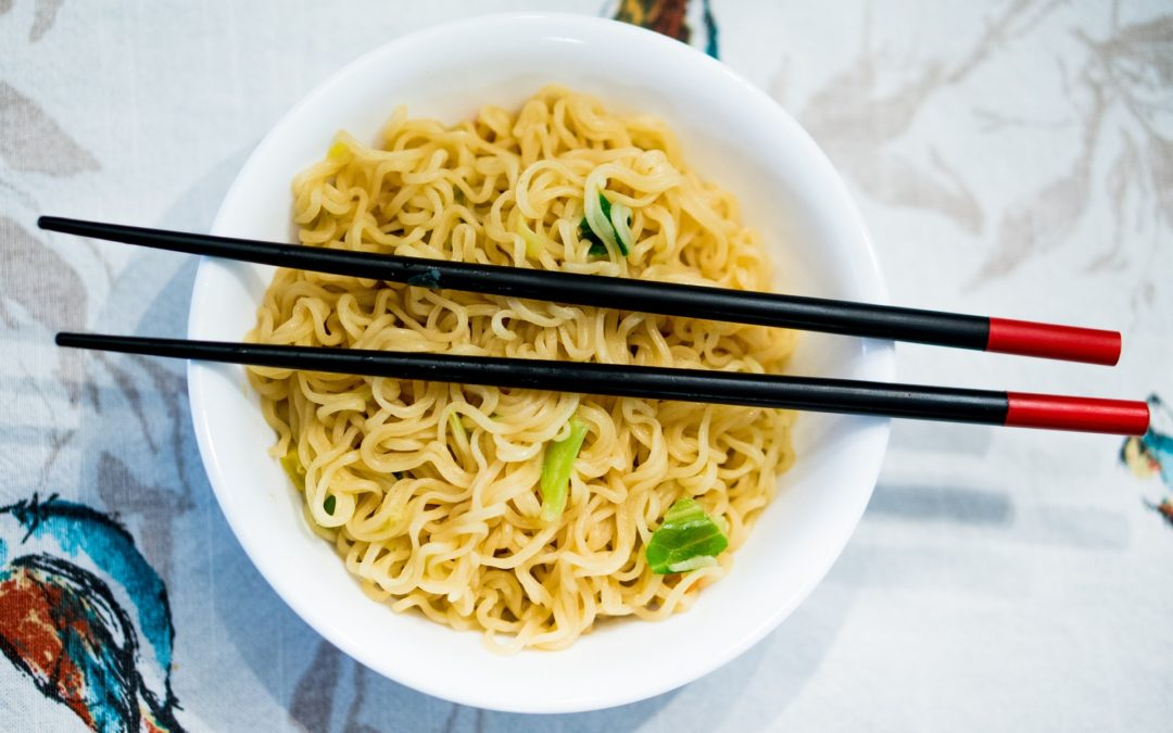Ramen Noodles with Chops Sticks in a Bowl