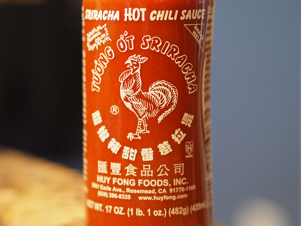 Sriracha Bottle Closeup