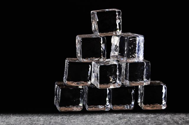 Clear Ice Cubes Stacked
